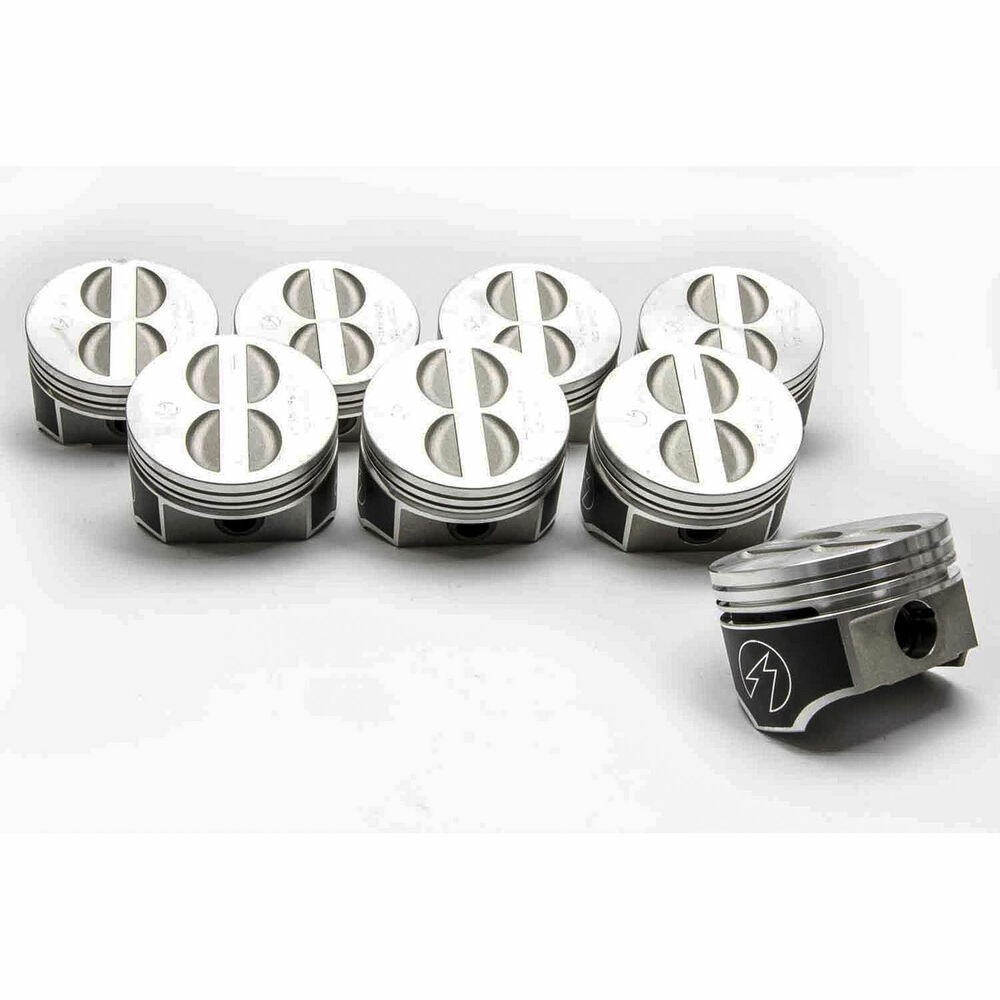 hight resolution of details about speed pro trw chevy 350 5 7 forged flat top coated skirt pistons set 8 020