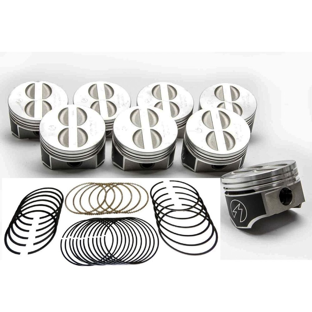 medium resolution of details about speed pro trw chevy 350 5 7 forged flat top coated skirt pistons moly rings 30