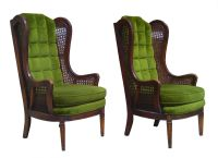 PAIR Mid Century Modern 1970s high back wingback cane ...