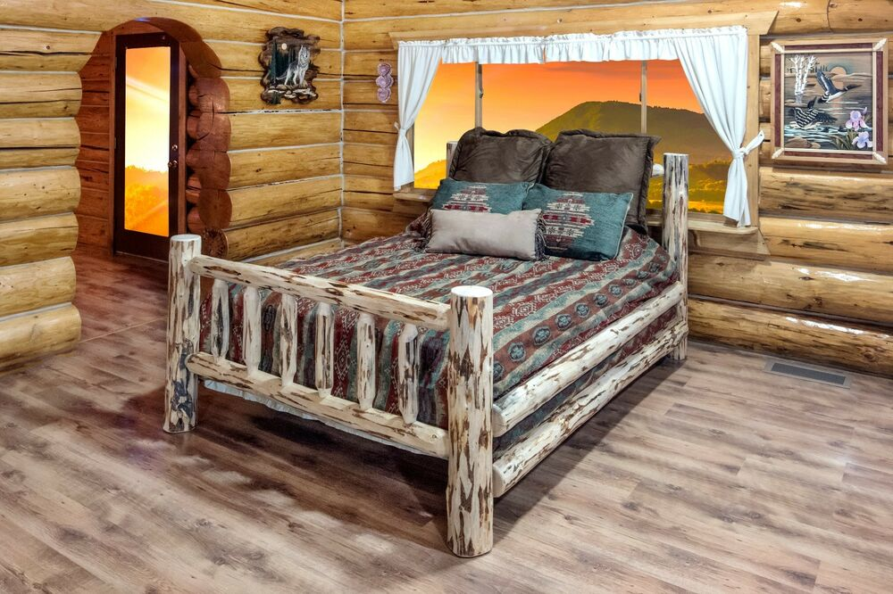 Amish Log Beds CA King Log Cabin Bed Hand Made Rustic