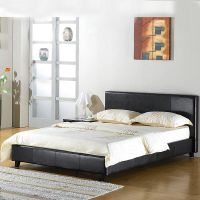 LEATHER BED-DOUBLE KING-BLACK-BROWN-WHITE WITH MEMORY FOAM ...