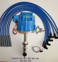 ford fe hei distributor 332 352 360 390 406 427 428 blue spark plug wires usa [ 1000 x 859 Pixel ]