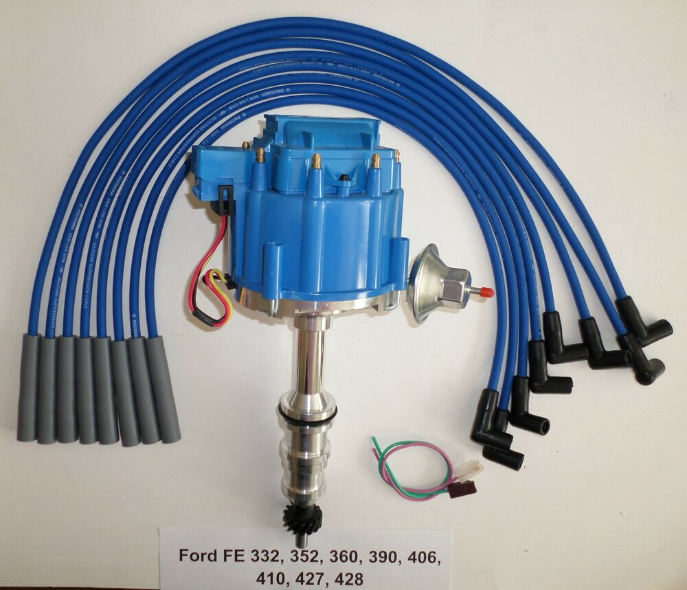 hight resolution of ford fe hei distributor 332 352 360 390 406 427 428 blue spark plug wires usa