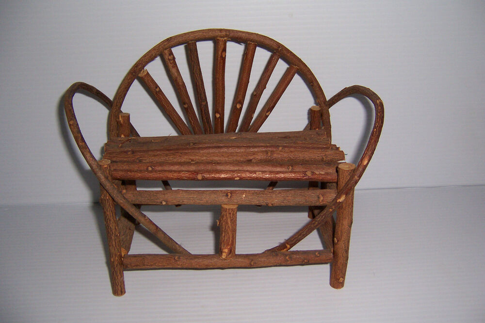 MINIATURE RUSTIC WILLOW PATIO FURNITURE LOVESEAT CHAIR
