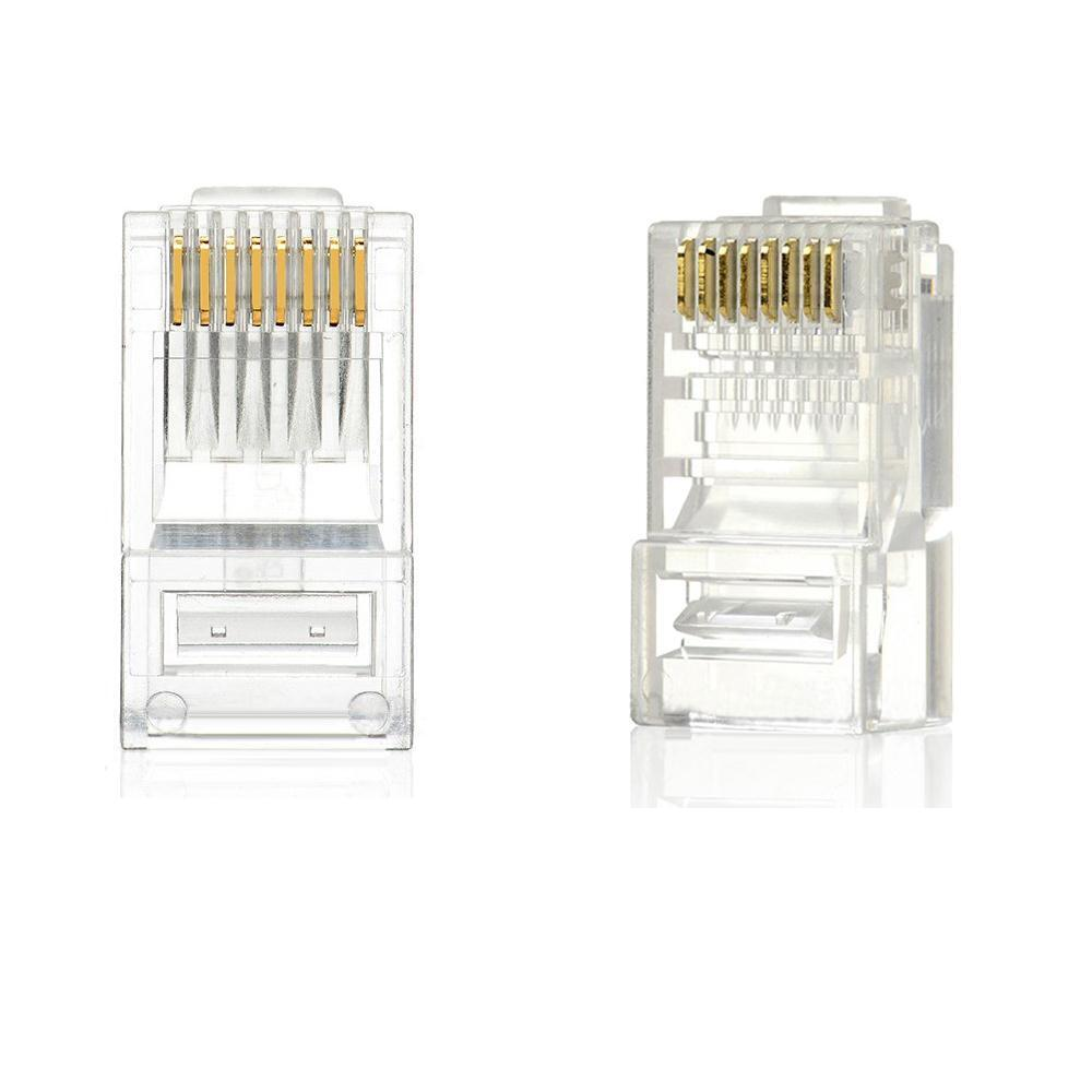 New 100PCS RJ45 RJ-45 CAT-5 Modular Plug Ethernet Gold
