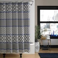 "STEVE MADDEN HOME 2pc ""JADE"" SHOWER CURTAIN/RUG BLUE,WHITE"