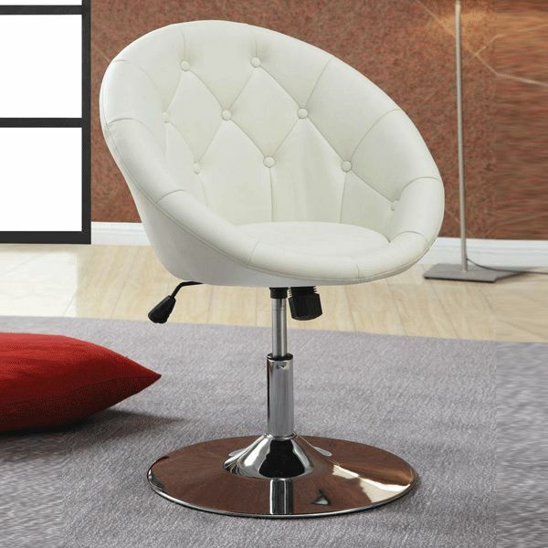 Contemporary Round Tufted Faux White Leather Adjustable