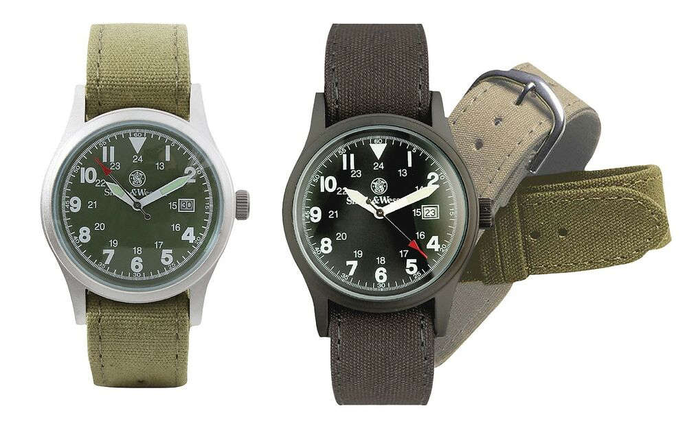 Smith  Wesson Military Watch w 3 Watchbands Rugged Mens