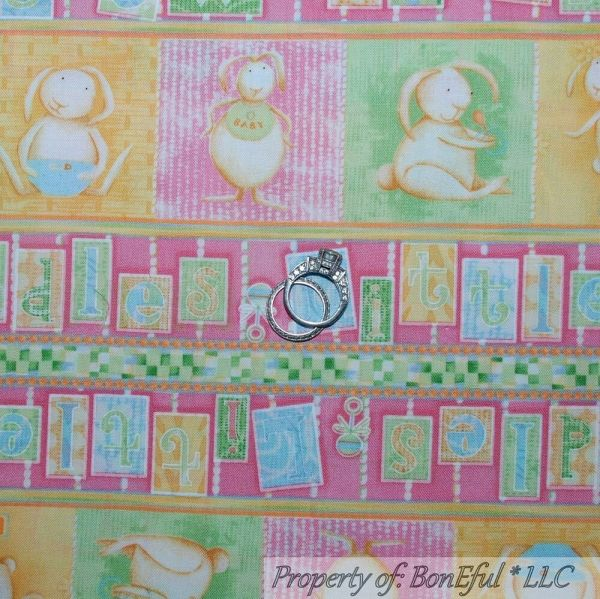 Boneful Fabric Fq Cotton Quilt Pink Square Baby Girl