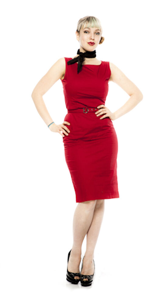 Red Pencil Dress  Fitted Pinup 50s Style  Sleeveless  Sz SmMed  Hey Viv  eBay