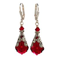 Ruby Red Baroque Vintage Filigree Earrings with Crystal ...