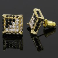 Mens Gold and Black Cz Cube Iced Out Hip Hop Micro Pave ...