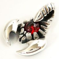 RED RUBY SCORPION 925 STERLING SILVER PUNK ROCK MENS ...