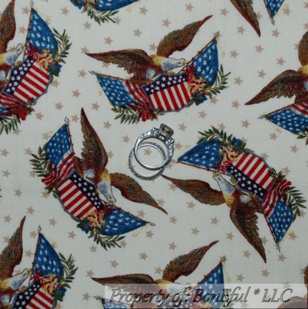 Boneful Fabric Fq Cotton Quilt Cream Tan Red Blue Eagle