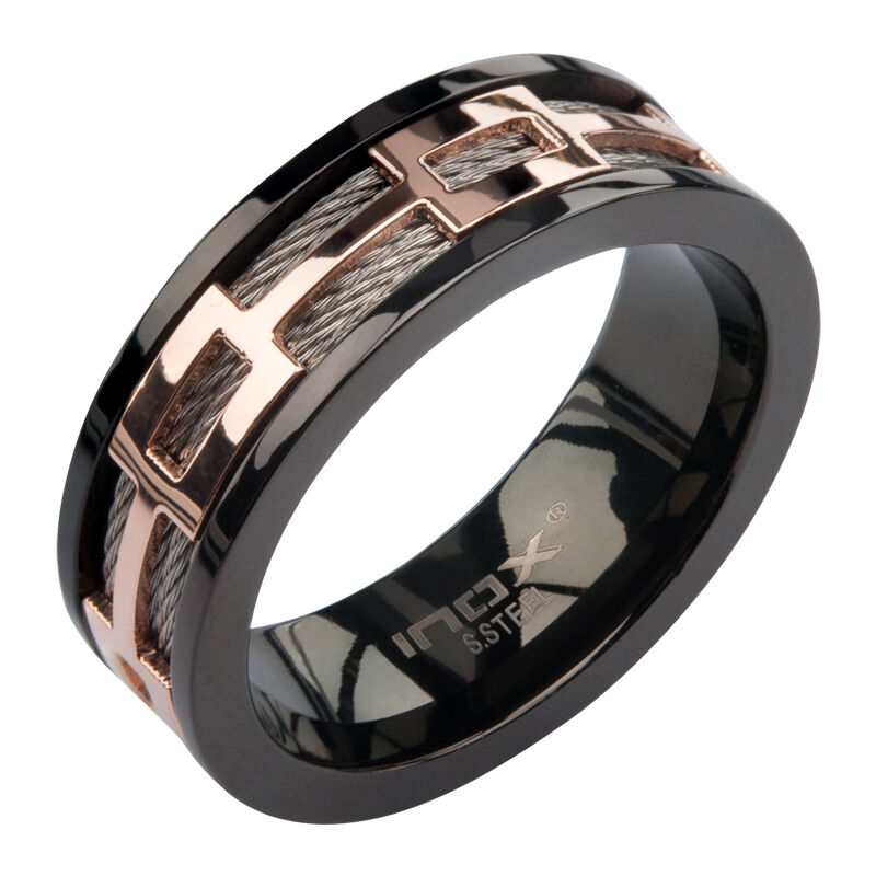 CLASSY MENS INOX SILVER BLACK ROSE GOLD IP 316L STAINLESS
