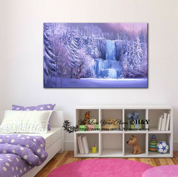 50x70x3cm Disney Frozen Waterfall Stretched Framed Canvas