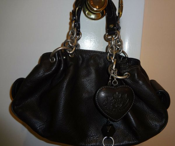 Juicy Couture 100 Leather Black Handbag Purse With Key