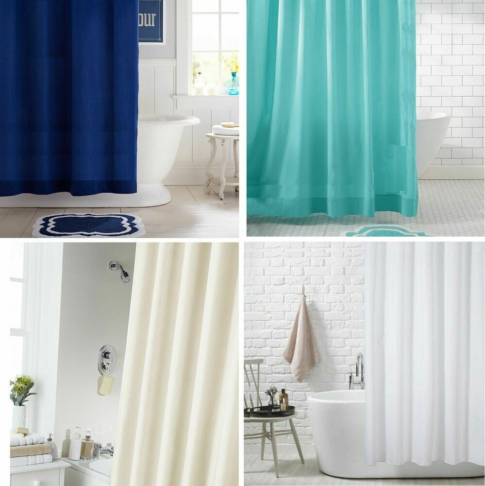 Extra Long Extra Wide Long Drop Waterproof Fabric Shower Curtain With 12 Hooks  eBay