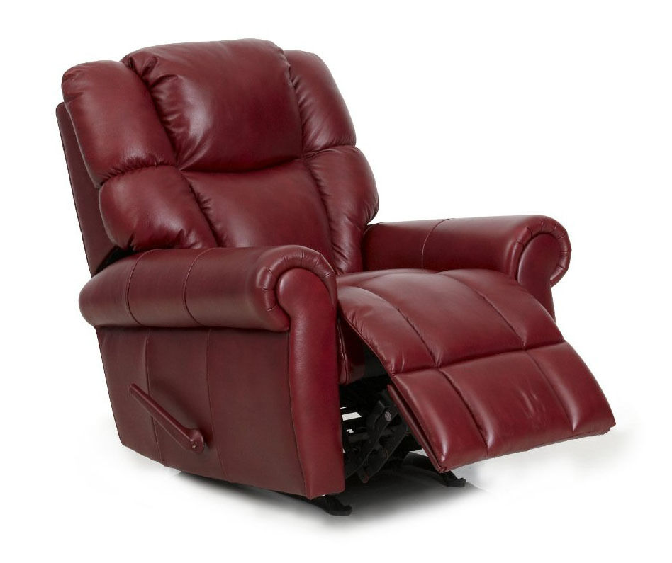 leather swivel recliner chair and ottoman vintage high for sale barcalounger hansen ii genuine pampa rouge red lounger   ebay