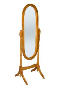 Oak Finish Wooden Free Standing Full Length Cheval Mirror ...
