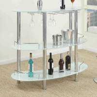Contemporary Bar Table Stand Frosted White Glass Shelf ...