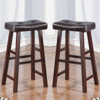 Set of 2 Dark Cherry Faux Leather Solid Wood 29H Saddle ...