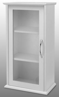 White Single Door Wall Mounted Bathroom Cabinet with Glass