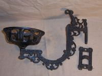 Antique Kerosene Oil Lamp Holder Cast Iron Wall Mount