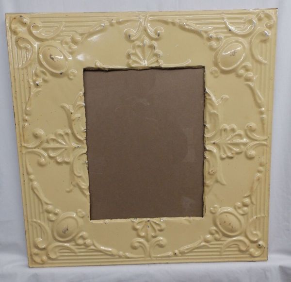 Antique Repurposed Tin Ceiling Metal 11x14 Butterscotch Frame 4127-15