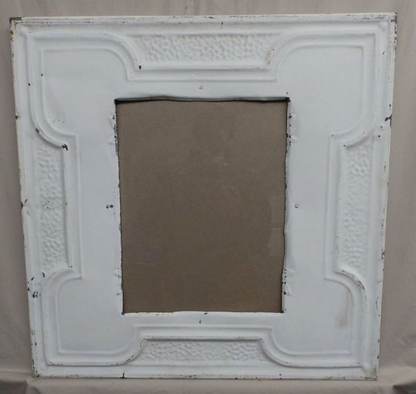 Antique Repurposed Tin Ceiling Metal 11x14 White Frame Recycled 4131-15