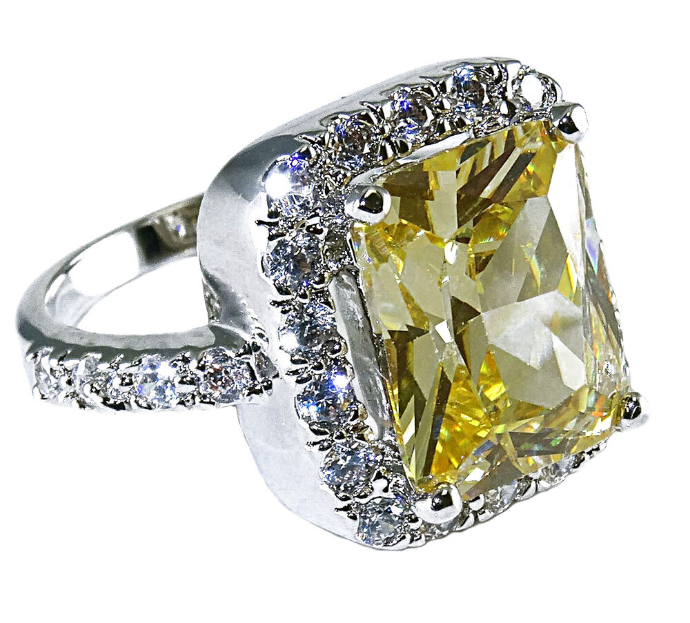 Brilliant Canary Yellow Cubic Zirconia CZ Cocktail Ring