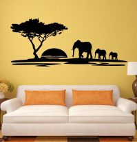 Wall Stickers Elephant African Animals Landscape Tree