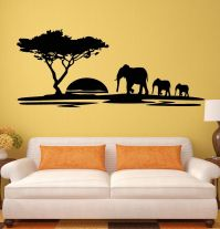 Wall Stickers Elephant African Animals Landscape Tree ...