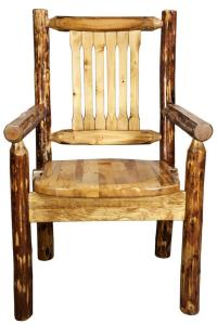 Rustic Captain Chair Log Dining Chair with Arms Solid Pine ...