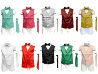 Boys Satin Vest tie and bow tie combo many colors to ...