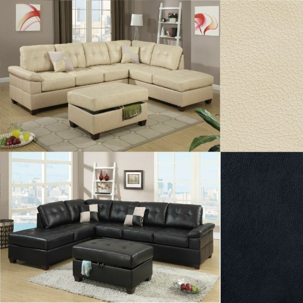 modern living room with sectional sofa 2 Pcs Sectional Sofa Couch Bonded Leather Modern Living