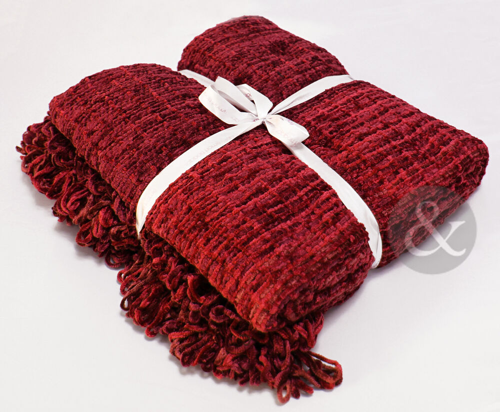 3 seater sofa throws uk 6172 chesterfield sleeper chenille - burgundy red extra large thermal woven ...
