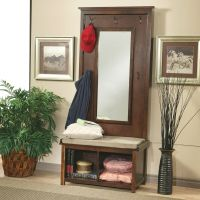 Hall Tree With Mirror Entryway Coat Rack Seat Cushion
