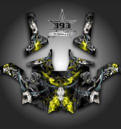 details about polaris rzr 800 utv graphics decal wrap 2011 2014 skull rider yellow [ 1000 x 1000 Pixel ]