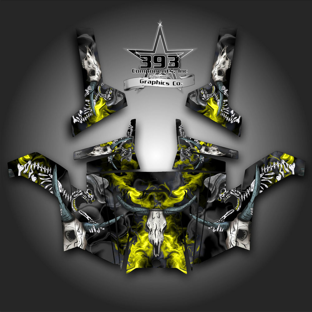 hight resolution of details about polaris rzr 800 utv graphics decal wrap 2011 2014 skull rider yellow
