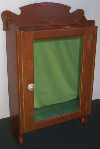 ANTIQUE OAK WALL MOUNT MEDICINE CABINET MIRROR GLASS