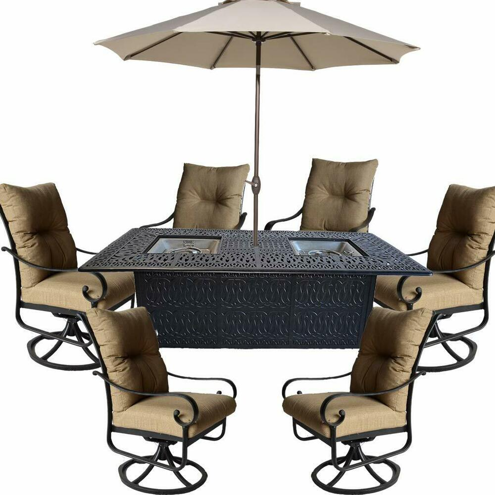 Patio Gas Fireplace Table Propane Fire Pit Table Set 9 Piece Patio Furniture Outdoor