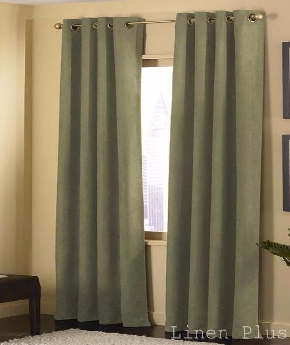 2 Panels Sage Grommet Micro Suede Curtain Window Covering