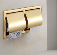 Wall Embedded Double Toilet Roll Paper Holder Gold Finish ...