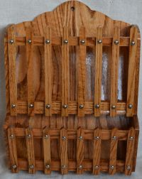 Amish hand-made oak wood hanging magazine rack with clear ...