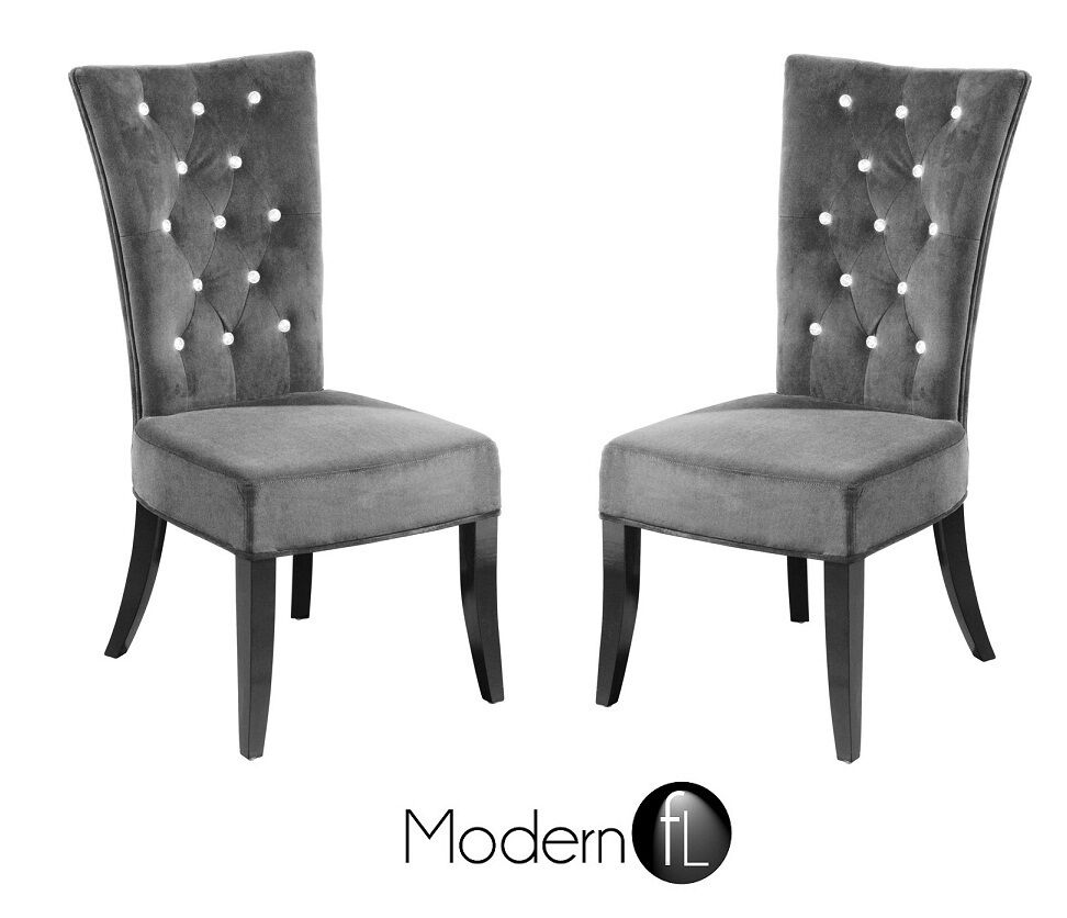 NEW 2x GREY VELVET DINING CHAIR WITH DIAMANTE DETAIL