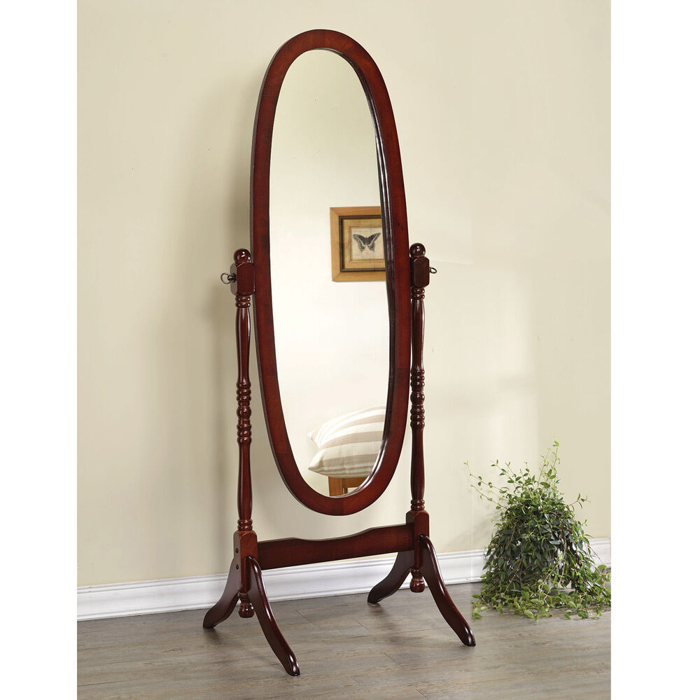 Accent Swivel Standing Full Length Cheval Floor Oval Mirror Wood in Warm Cherry  eBay