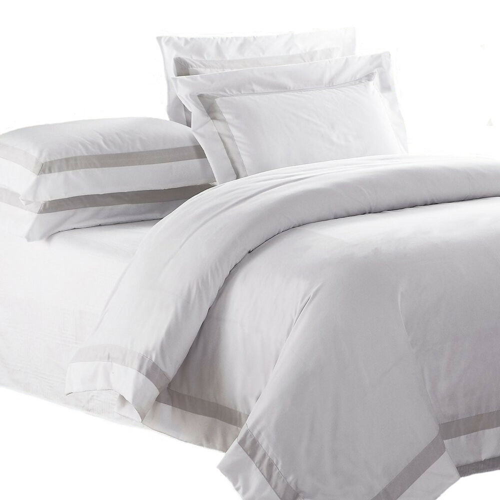 WHITE QUILT COVER Queen Size Latte Trim Doona Duvet Cover