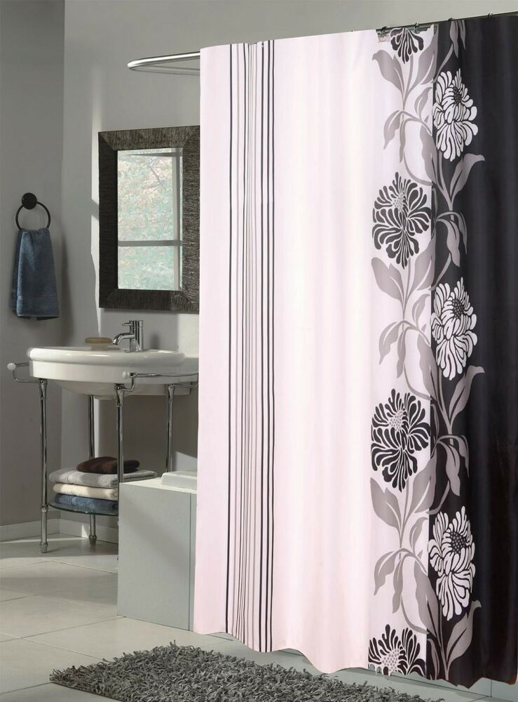 Carnation Home Fashions Extra Long Chelsea Fabric Shower Curtain BlackWhite New  eBay