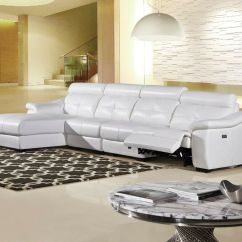 Contemporary Chaise Sofa Plummers Stella Round Lounge 3 Pc New Modern Snow White Leather Sectional ...